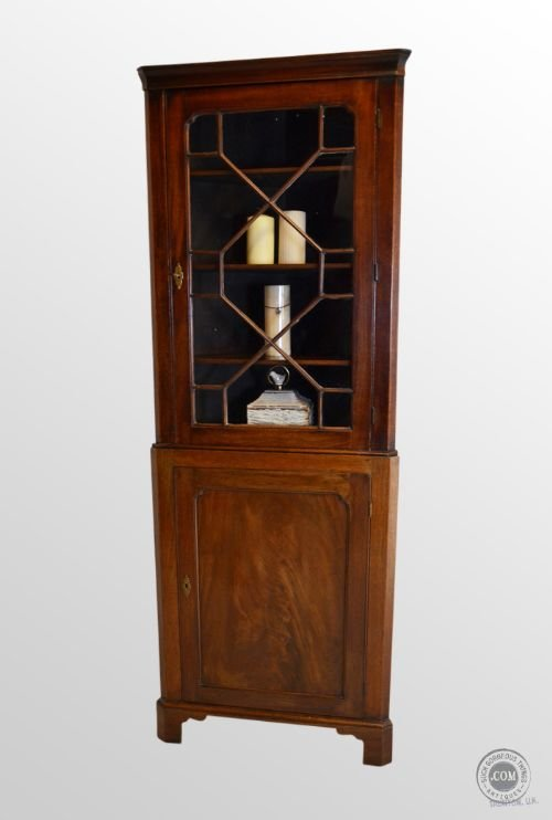 Antique Tall Corner Cupboard Display Cabinet Mahogany