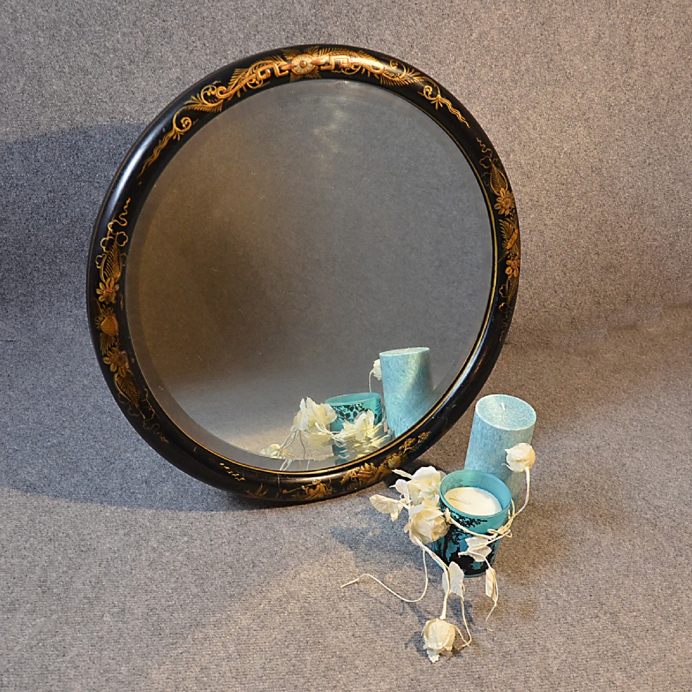 Antique wall mirror round chinoiserie bevelled circular for Looking mirror