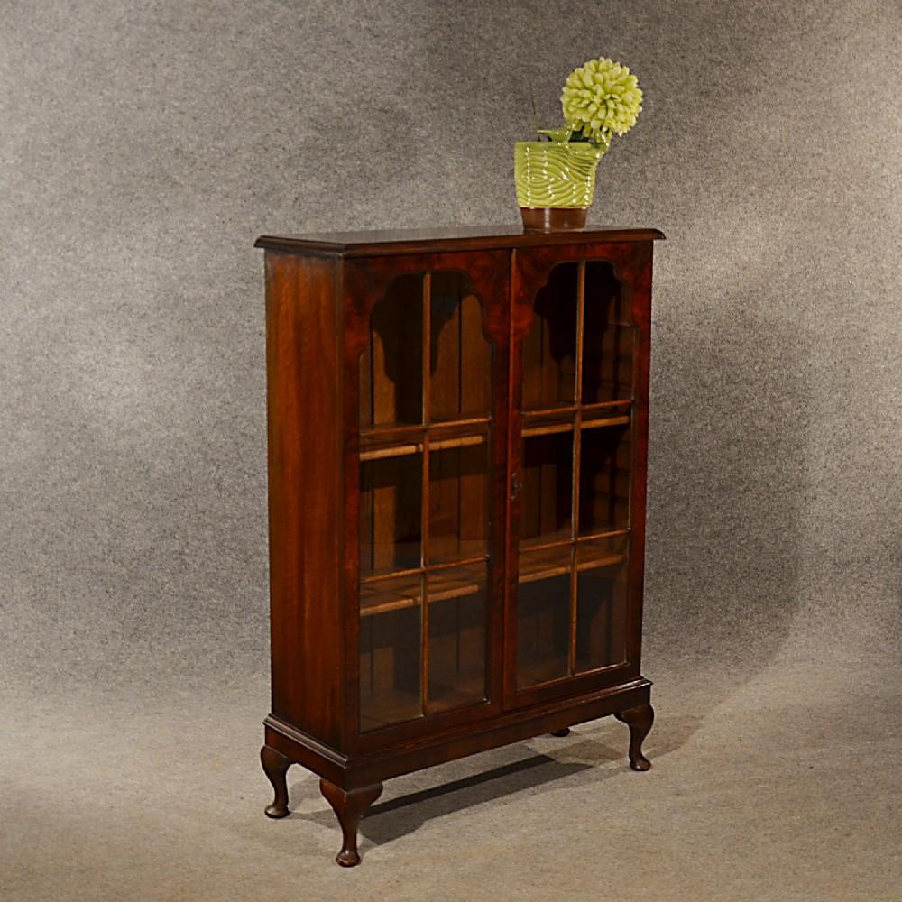 Old Bookcase Uk : Antique walnut bookcase display library glazed cabinet