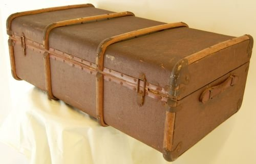 Large canvas vintage suitcase luggage travel trunk box - Vintage suitcase ...