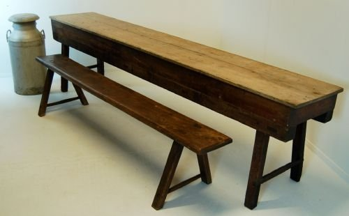 victorian antique table narrow long kitchen elm & pine | 93881