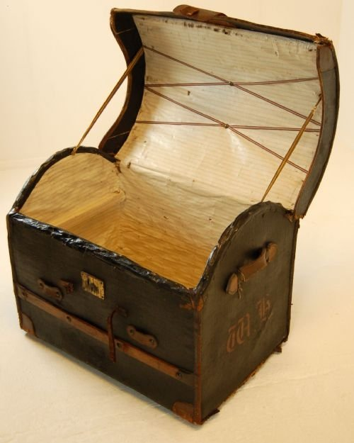 leather travel trunk luggage suitcase vintage english - photo angle #3