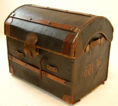 leather travel trunk luggage suitcase vintage english - photo angle #4
