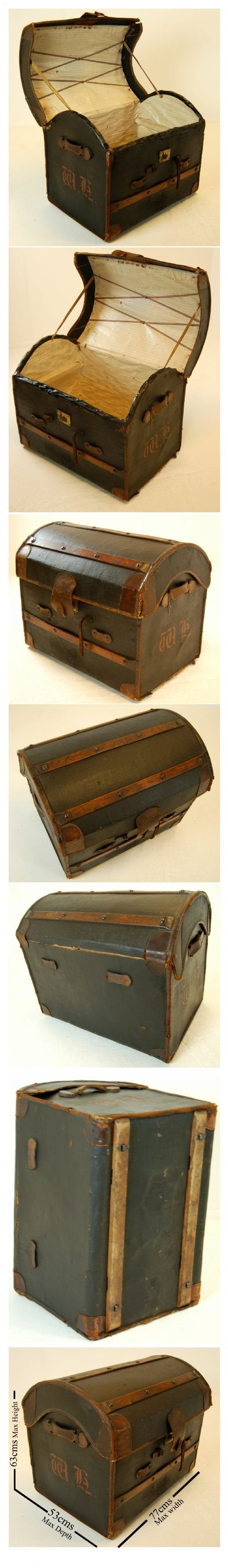 leather travel trunk luggage suitcase vintage english - photo angle #5