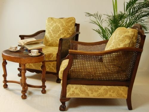 page load time 0.64 seconds - Pair Antique Armchairs Caned Bergere Club Chair C1900 100226