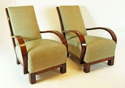 Art deco original pair antique armchairs club chair for Examples of art deco furniture