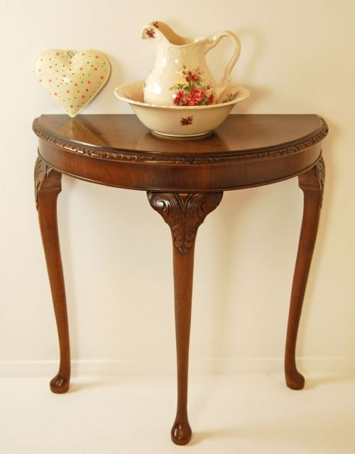 Walnut Demi-lune Console Table Hall Side Antique Small | 100473 ...