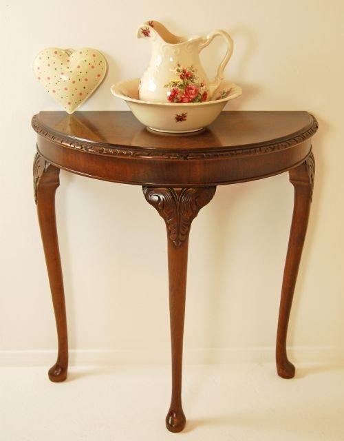 Walnut Demi Lune Console Table Hall Side Antique Small 100473