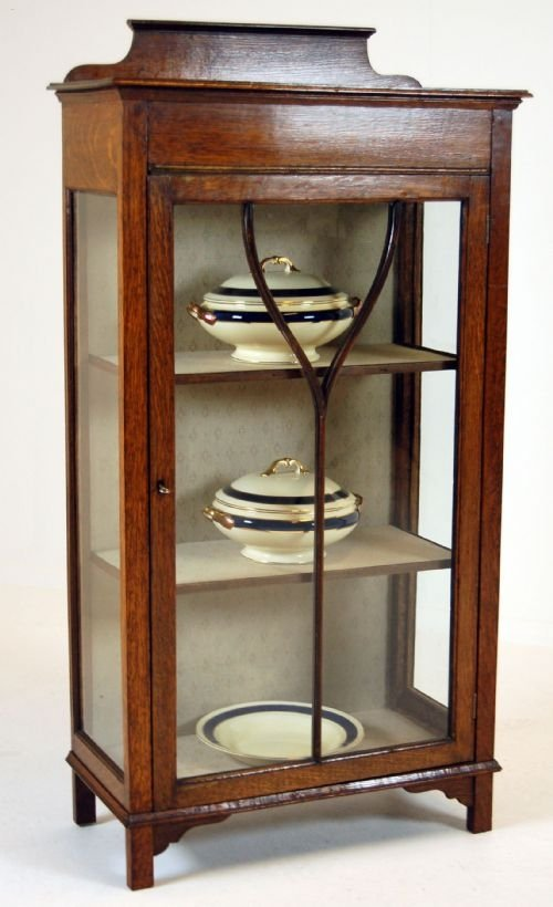 glass fronted pier cabinet display case antique oak - Glass Fronted Pier Cabinet Display Case Antique Oak 100476
