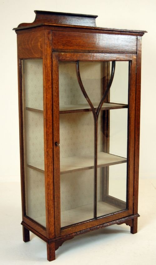 page load time 0.42 seconds - Glass Fronted Pier Cabinet Display Case Antique Oak 100476