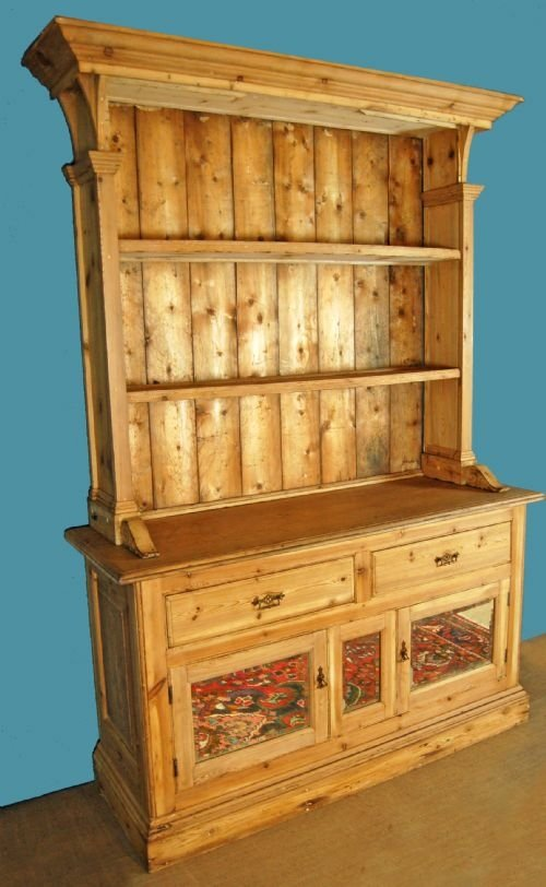 Welsh dresser kitchen cabinet bookcase antique pine for Antique pine kitchen cabinets