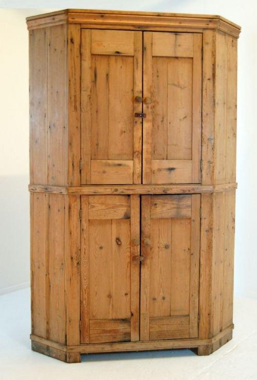 victorian antique pine corner cabinet cupboard larder - Victorian Antique Pine Corner Cabinet Cupboard Larder 104241