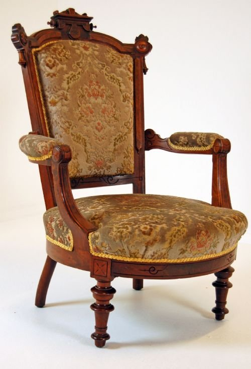 walnut armchair antique chair victorian salon fireside - Walnut Armchair Antique Chair Victorian Salon Fireside 105158