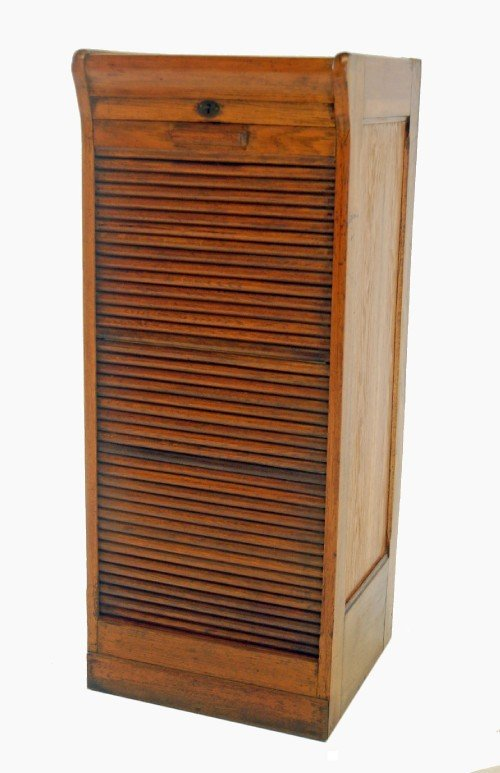 oak tambour filing cabinet roll front drawers antique | 107907