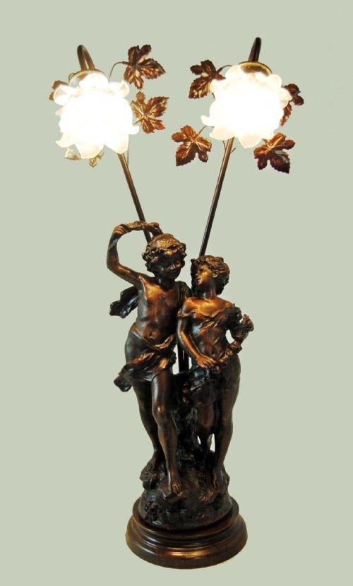 Art Nouveau Table Lamp Electrolier Statue Bronze Light