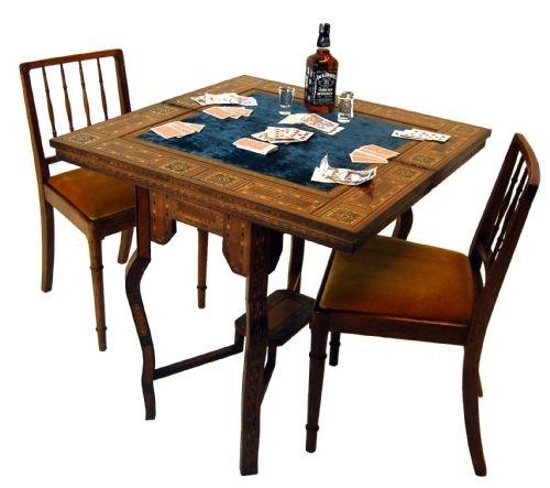 Games card table bridge backgammon chess antique poker for Table bridge