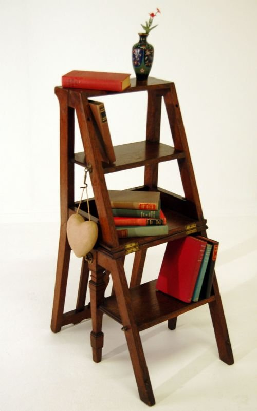 Metamorphic Library Steps Porters Stool Chair Antique