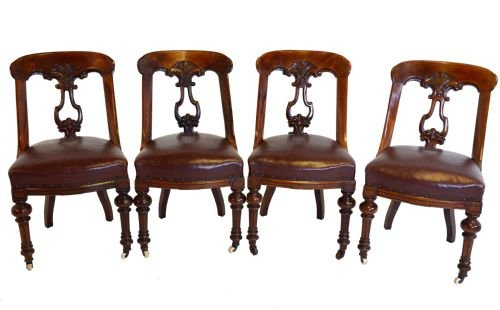 set 4 four antique victorian leather dining chairs 1860 - Set 4 Four Antique Victorian Leather Dining Chairs 1860 115418