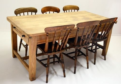 Antique Pine Kitchen Dining Table Twin Drawers 8 Seater ...