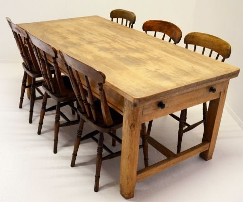antique pine kitchen dining table twin drawers 8 seater 115545