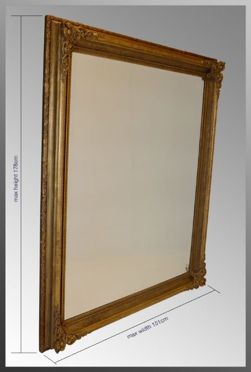 Large victorian gilt mirror overmantle antique 6 39 x 5 for Standing glass mirror