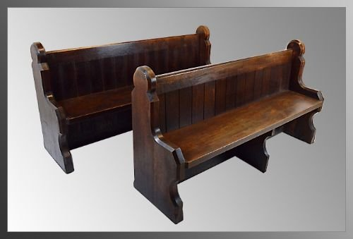 Pair Of Oak Church Pew Bench Settle Seat Antique C1850 A Rare Pair In Solid English Oak