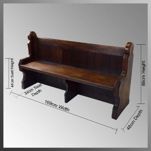 Pair Of Oak Church Pew Bench Settle Seat Antique C1850 A