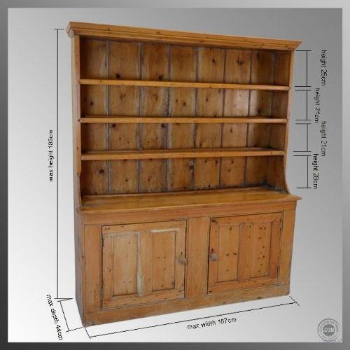 Antique pine kitchen dresser sideboard display cabinet for Antique pine kitchen cabinets