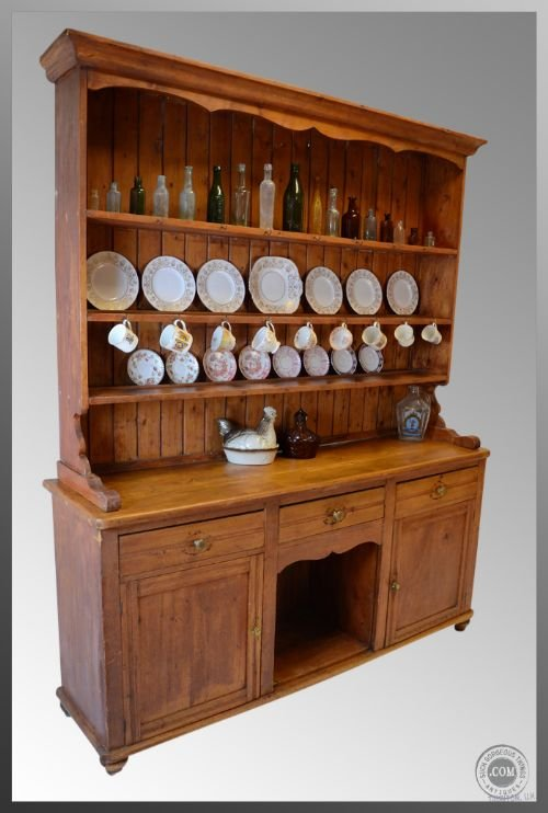 Antique Pine Kitchen Dresser Sideboard Display Cabinet