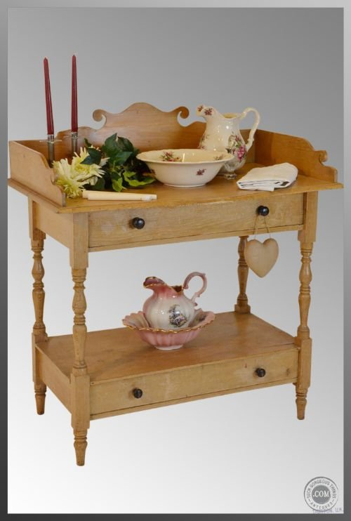 Victorian Antique Pine 2 Drawer Wash Stand Vanity Tableideal As Baby Change  Unit For Nursery Original