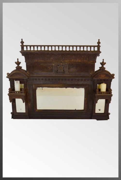 Cast Iron Overmantle Mirror Victorian Antique Fireplace