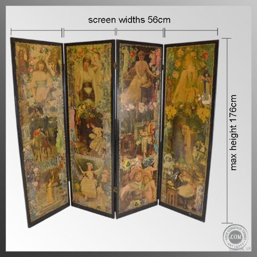 Antique Folding 39 Scrap 39 Screen Room Divider Partition Lovely Victoria
