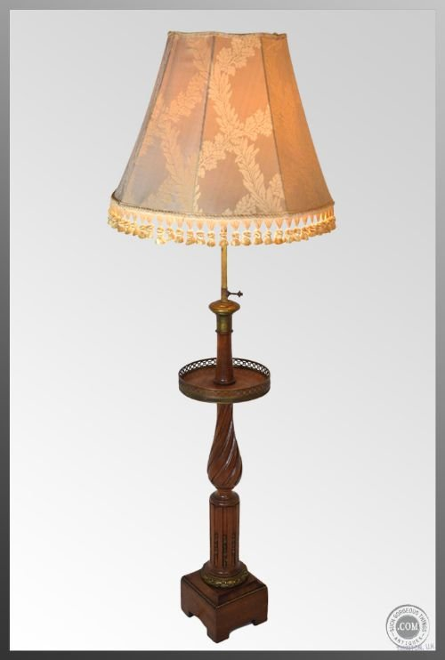 Antique French Floor Tall Standard Lamp Amp Shade C1900 Wine