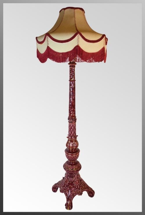 Antique pottery floor tall standard lamp shade c1900 burmantofts antique pottery floor tall standard lamp shade c1900burmantofts style stunning colour china great condition mozeypictures Images