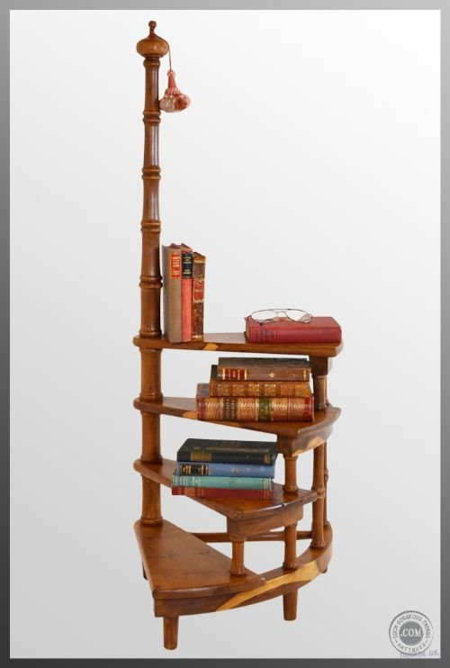Library Steps In Yew Antique Bookshelf Circular Ladder Four Tread Hand Pole Superb Condition Solid Yew 127470 Sellingantiques Co Uk