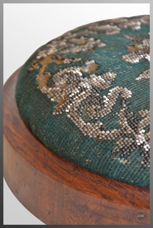 Small Round Foot Stool Antique Tapestry Mahogany C1830