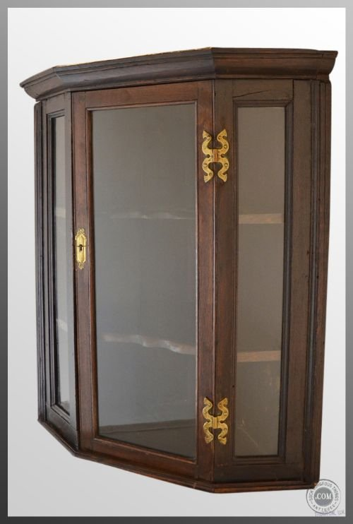Charmant Oak Glazed Corner Cupboard Cabinet Antique C1800georgian Hanging Display  Case Triple Aspect Glass Front