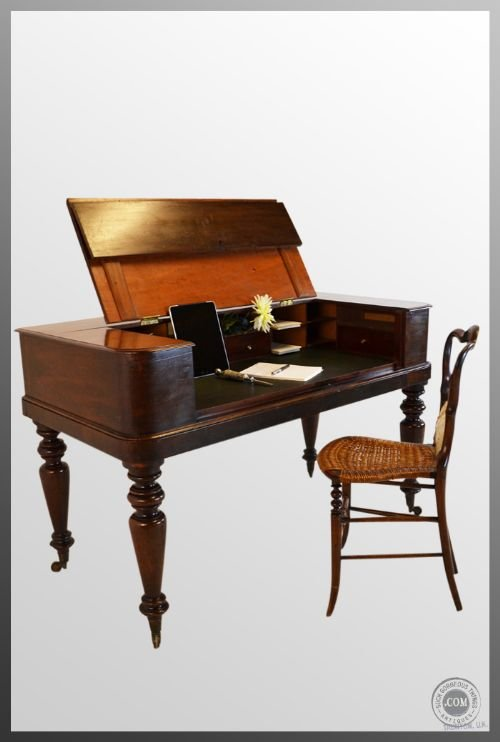 regency antique writing table desk bureau leather top former square piano  c1830 - Regency Antique Writing Table Desk Bureau Leather Top Former