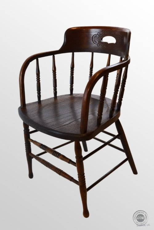 Exceptionnel Antique Oak Art Nouveau Windsor Bow Captains Smokers Armchair Chair C1910
