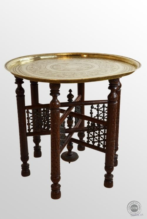Antique Berber Benares Brass Round Tray Serving Table On Folding Stand C1900