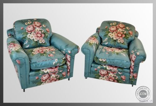 pair of armchairs antique victorian deep seat club chairs c1900 - photo angle #3