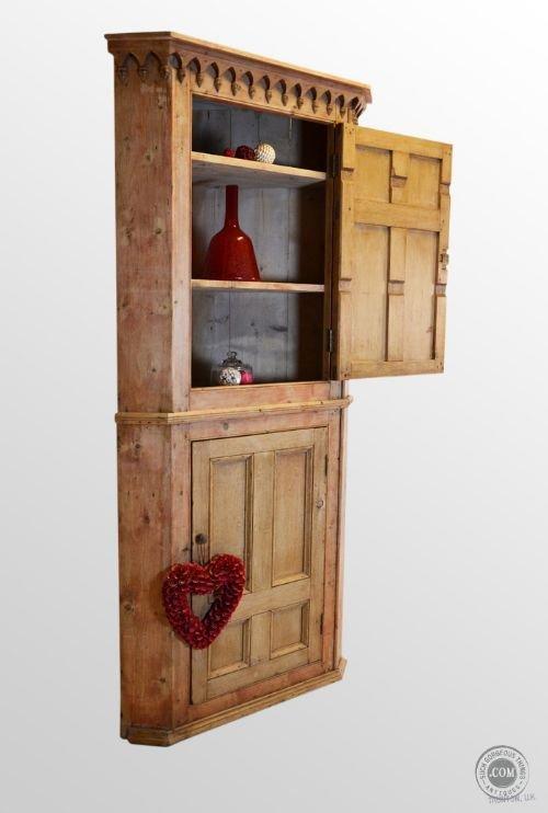 Antique Tall Corner Cupboard Kitchen Cabinet Victorian Pine C1850 134561