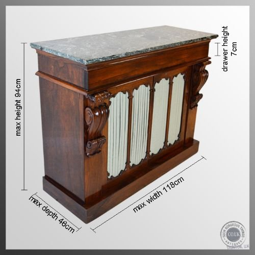 regency antique rosewood marble top chiffonier cabinet c1820 - photo angle #2