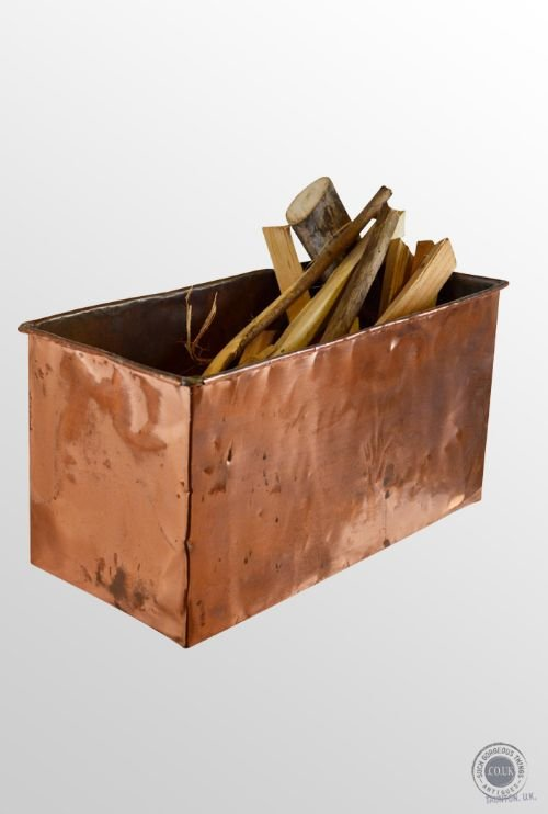 antique copper kindling wood log coal fireside bin c1890