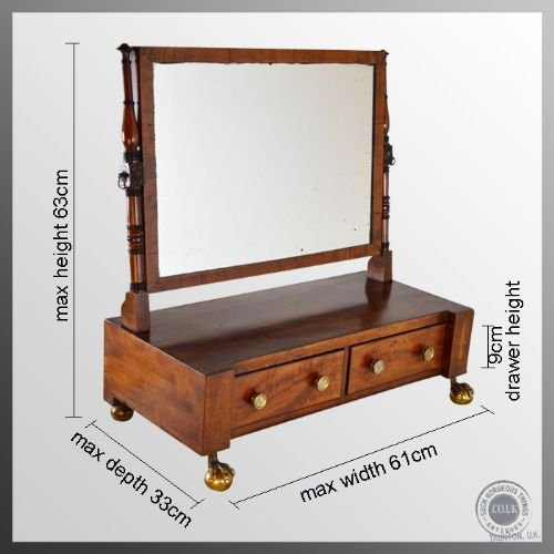 antique georgian dressing vanity swing cosmetic toilet mirror antique c1790 - photo angle #2