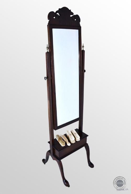 Antique victorian cheval glass english dressing tall floor for Tall glass mirror