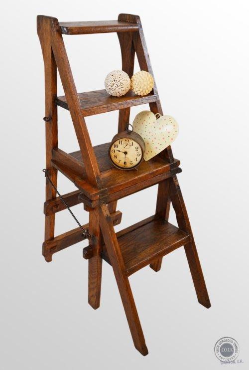 Antique Oak Metamorphic Steps Porters Chair Ladder Library