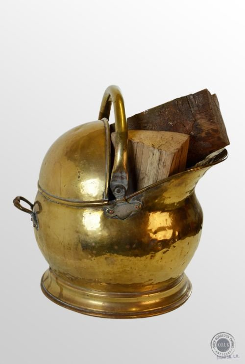 antique log bucket coal helmet fire scuttle brass bin c1880