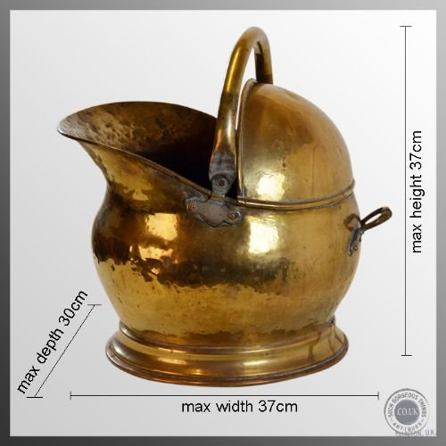 antique log bucket coal helmet fire scuttle brass bin c1880 - photo angle #2