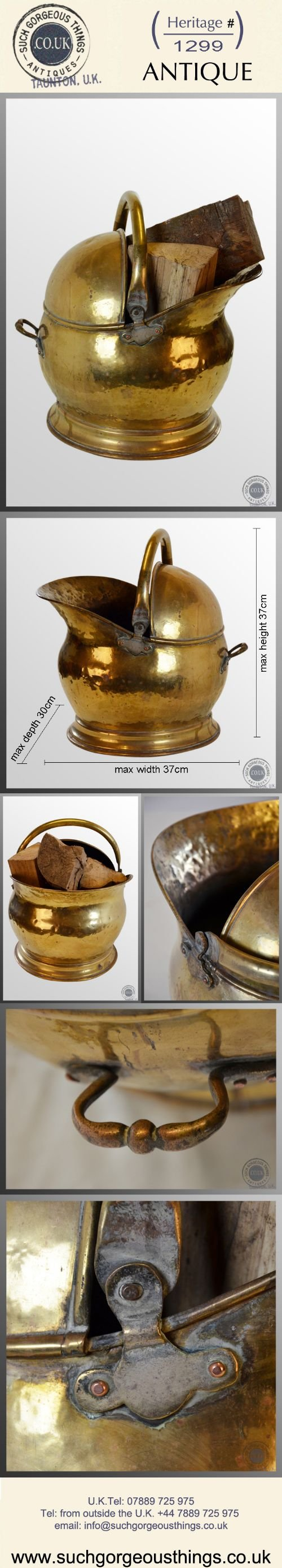 antique log bucket coal helmet fire scuttle brass bin c1880 - photo angle #5